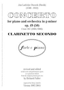 Partition clarinette 2 (B♭), Piano Concerto Op.49 (Craw 187), Piano Concerto in G minor, Op.49 (Craw 187)
