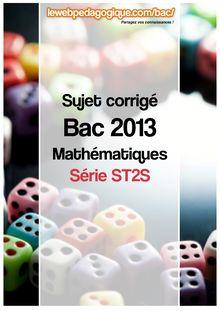 bac 2013 métropole sujet corrigé maths série ST2S