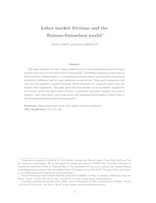 Labor market frictions and the Balassa Samuelson model