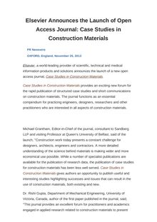 Elsevier Announces the Launch of Open Access Journal: Case Studies in Construction Materials