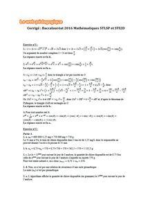 Baccalauréat Mathématiques 2016 - Séries STL et STI2D