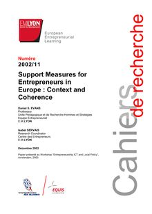 Support Measures for Entrepreneurs in Europe : Context and ...