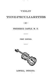 Partition Complete book, violon Tone Peculiarities, Castle, Frederick