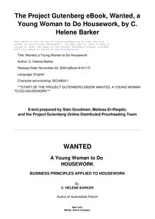 Wanted, a Young Woman to Do Housework - Business principles applied to housework