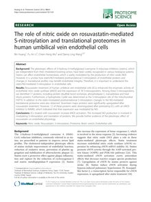 The role of nitric oxide on rosuvastatin-mediated S-nitrosylation and translational proteomes in human umbilical vein endothelial cells