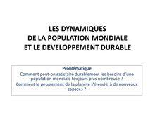 Cours de 5eme : les dynamiques de la population mondiale et le développement durable