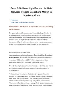 Frost & Sullivan: High Demand for Data Services Propels Broadband Market in Southern Africa
