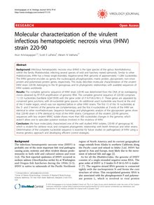Molecular characterization of the virulent infectious hematopoietic necrosis virus (IHNV) strain 220-90
