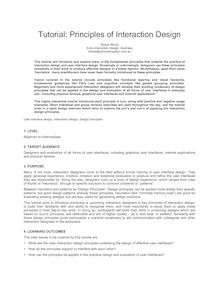 Tutorial Proposal - Principles of Interaction Design