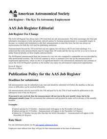American Astronomical Society AAS Job Register Editorial ...