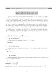 Ensembles de nombres Cours 0
