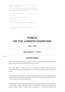 Punch, or the London Charivari, Volume 153, November 7, 1917