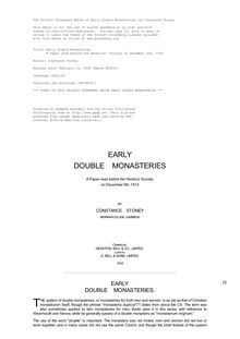 Early Double Monasteries - A Paper read before the Heretics