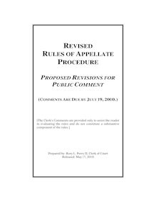Revised Rules of Appellate Procedure - Comment Requested