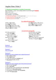 Fiche pratique : les adjectifs et les pronoms possessifs - anglais 5ème