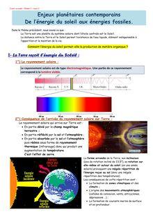 Enjeux planétaires contemporains De l'énergie du soleil aux énergies fossiles - SVT seconde
