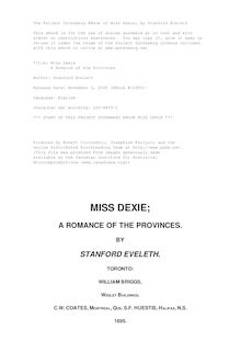 Miss Dexie - A Romance of the Provinces
