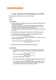 Baccalauréat Mathématiques 2016 - Série STD2A