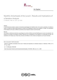 Neolithic Arrowheads of the Levant : Results and Implications of a Seriation Analysis - article ; n°1 ; vol.15, pg 43-56