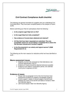 Audit checklist for suppliers