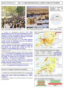 La répartition de la population en Europe - géographie 6eme