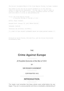 The Crime Against Europe - A Possible Outcome of the War of 1914