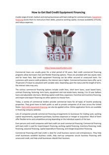 How to Get Bad Credit Equipment Financing