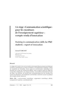 Un stage «Communication scientifique» pour les moniteurs de l ...