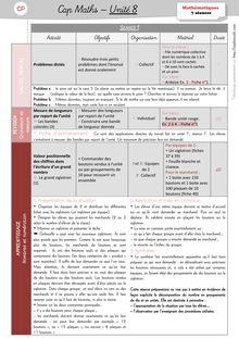 Mathématiques CP / CE1 – Cap Maths, période 3 (unités 7 et 8) - Unité 8 – CP Unité 8 Préparation des séances