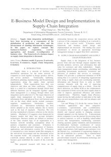 E-Business Model Design and Implementation in Supply-Chain Integration