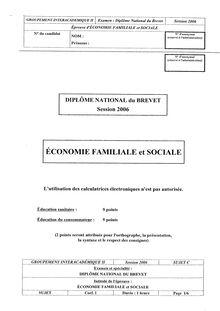 Brevet economie familiale et sociale 2006