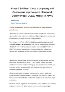 Frost & Sullivan: Cloud Computing and Continuous Improvement of Network Quality Propel UCaaS Market in APAC
