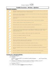 Feuille d'exercice sur les Divisions et Fractions pour 6ème