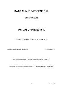 Sujet Bac 2015 - Philo L