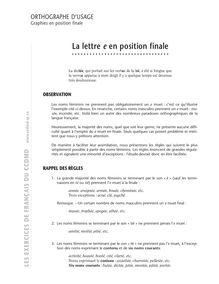 """La lettre """" e """" en position finale : précis d'orthographe"""