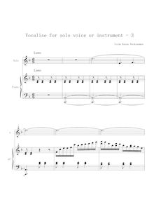 Partition No.3, Vocalises, Vocalises for Solo Voice or Instrument and Piano