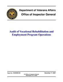 Department of Veterans Affairs Office of Inspector Genral Audit of  Vocational Rehabilitation and Employment