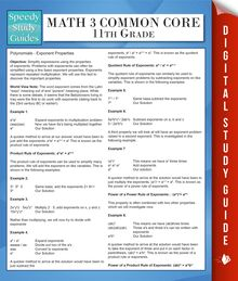 Math 3 Common Core 11th Grade (Speedy Study Guides)
