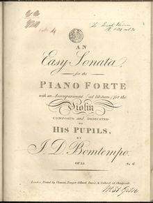 Partition parties complètes, An Easy Sonata, An Easy Sonata, for the Piano Forte with an accompaniment (ad libitum) for the Violin