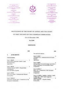 PROCEEDINGS OF THE COURT OF JUSTICE AND THE COURT OF FIRST INSTANCE OF THE EUROPEAN COMMUNITIES. 12 to 16 December 1994 No 33/94