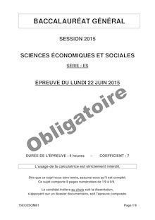 Bac 2015 - SES - Obligatoire