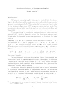 Quantum cohomology of complete intersections