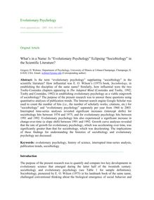"What's in a name: Is ""evolutionary psychology"" eclipsing ""sociobiology"" in the scientific literature?"