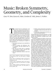 Music: Broken Symmetry, Geometry, and Complexity