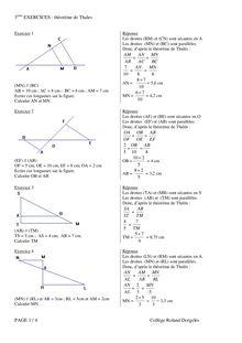 3 EXERCICES : théorème de Thales PAGE 1 / 4 Collège Roland ...