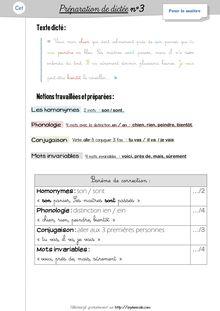 Orthographe / Grammaire / Vocabulaire CE1 – Préparations de dictées et leçons - Préparations de dictées n°3