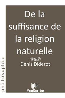 De la suffisance de la religion naturelle de Denis  Diderot - fiche descriptive
