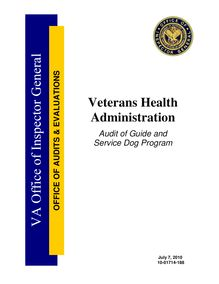 Department of Veterans Affairs Office of Inspector General Audit of  Guide and Service Dog Program;