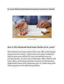St. Louis Wholesale Real Estate Properties Cash Buyers Wanted