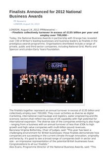 Finalists Announced for 2012 National Business Awards